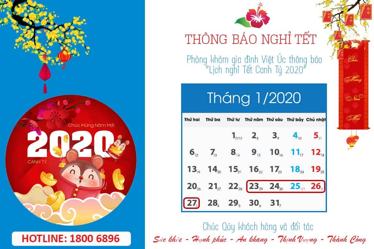 Thông báo lịch nghỉ lễ Canh Tý 2020